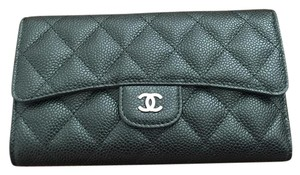 Chanel Black Chanel tri fold wallet
