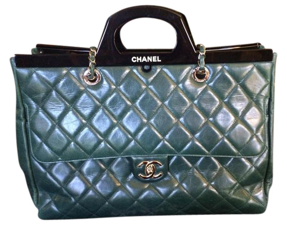 28cf85864f5873 Chanel Shopping Cc Delivery Large Green Leather Tote - Tradesy