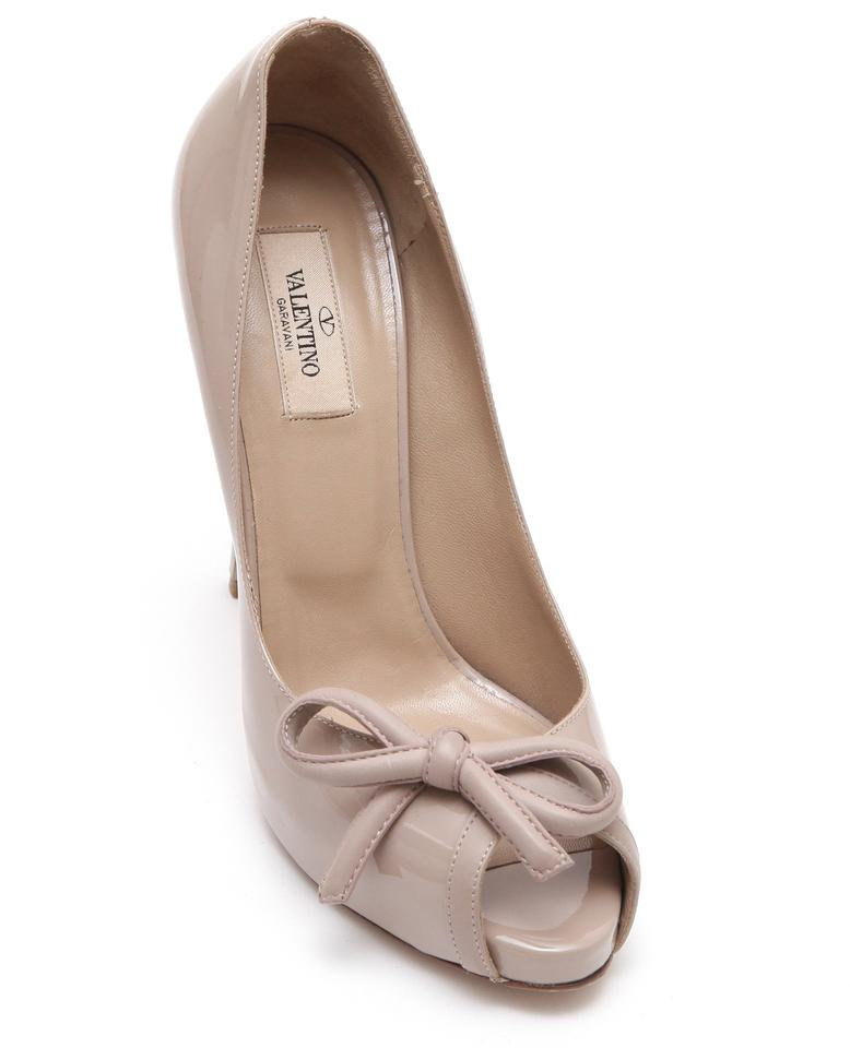 Valentino Nude Patent Bow Leather Peep Toe Pump Bow Patent 39 Platforms 2db1bd