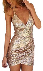 LOOKBOOK Sequin Micro-mini Racer-back Dress