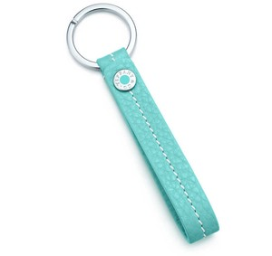 Tiffany & Co. Tiffany & Co Blue Leather Snap Loop Key Chain
