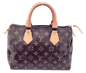 Louis Vuitton Speedy 25 Monogram Canvas Leather Vintage Satchel in Brown and Tan