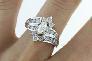 14k White Gold 2 Cttw Marquise Diamond Engagement Ring