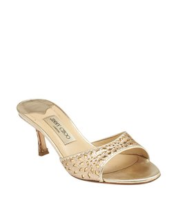 Jimmy Choo Open Toe Sparkle Perforated Gold Formal