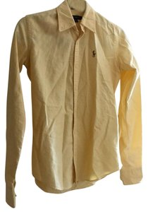Ralph Lauren Classic Preppy Lilly Pulitzer Polo Oxford Button Down Shirt Yellow