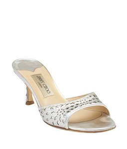 Jimmy Choo Open Toe Formal Sparkle ,Silver Sandals