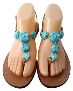 Kate Spade Leather Embellished Strappy Blue Sandals