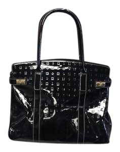 Arcadia Patent Leather Embossed Satchel in Black