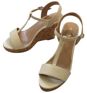 Charles by Charles David Heels Cork White Leather Heels Off white Wedges