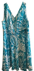 Avenue short dress Turquoise and white tropical pattern on Tradesy