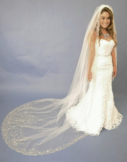 Diamond White Elena Designs Beaded Cathedral Wedding Veil E1122l