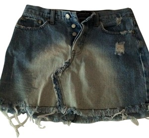 London Jean Skirt Distressed Denim