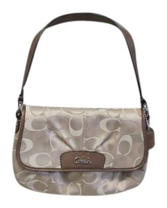 Coach Leather Trim Wristlet in Tan and Cream