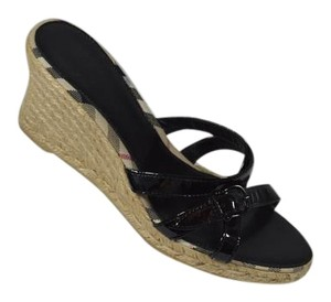 Burberry Nova Plaid Patent Leather Espadrille Black Wedges