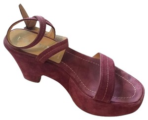 Prada Suede Platform Size 8 Purple Wedges