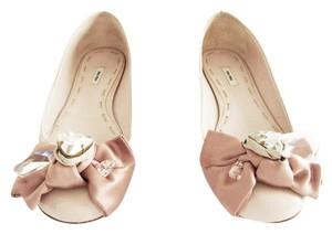 Miu Miu Patent Leather Jeweled Bow Nude Flats