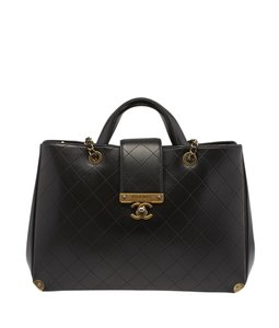 Chanel Black Quilted Cc Tote in ,Black