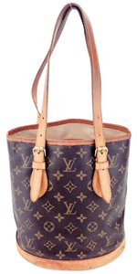 Louis Vuitton Bucket Marais Monogram Canvas Leather Shoulder Bag