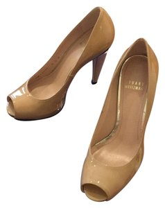 Stuart Weitzman Proud Patent Leather Heel Adobe aniline Pumps