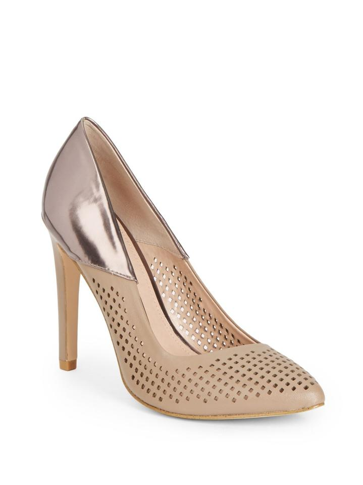 French Connection Perforated Hazelwood Beige Bronze Maya Perforated Connection Pumps a37580