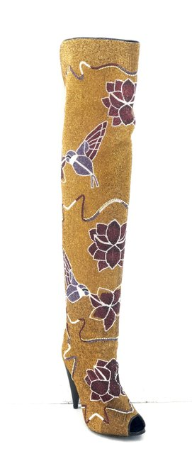 Item - Yellow Hummingbird and Floral Beaded Over-the-knee Boots/Booties Size EU 39 (Approx. US 9) Regular (M, B)