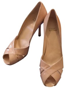 Stuart Weitzman Dresser Tan Patent Leather Adobe aniline Pumps