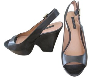 Rachel Zoe Leather Black Wedges