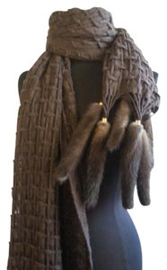 Scarf-Women's-Fur-Mink-Brown-Textured-Shawl/Wrap