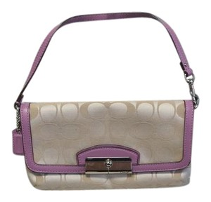 Coach Leather Trim Wristlet in Tan and Lilac