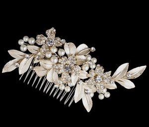 Gold Plated Ivory Pearl Bridal Comb
