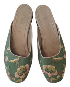 Chelsea Textiles Embroidered sage green with embroidery Flats