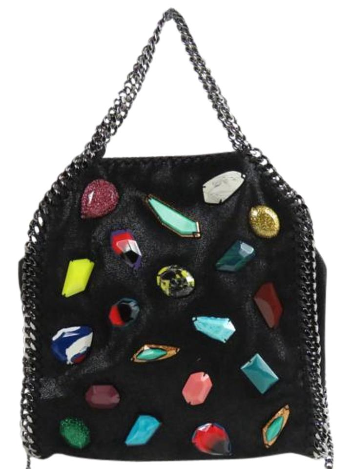 ae617e16ccf3 Stella McCartney Falabella Mini Baby Bella Stone Embellished Suede  Black-multi Faux Fur Tote