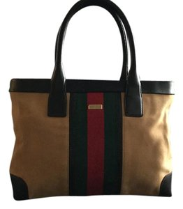 Gucci Vintage Web Tote in Brown w/Red & Green webbing
