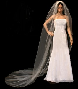 White Double Layer Wedding Veil With Crystals