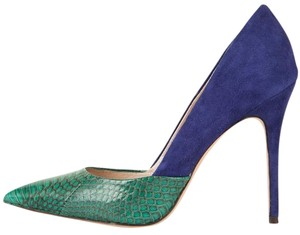 Jean-Michel Cazabat Suede Python Crocodile Blue Green Pumps