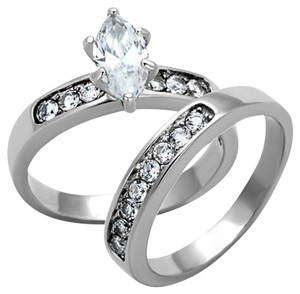 La Bella Rose Stainless Steel Clear CZ Wedding Ring Set - 07311