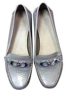 Coach Gently-worn Patent Double C Hardware Monogram Silver Flats