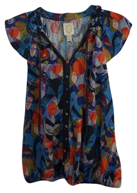 Anthropologie Multi-colored Ric Rac Blouse Size Petite 2 (XS) Anthropologie Multi-colored Ric Rac Blouse Size Petite 2 (XS) Image 1
