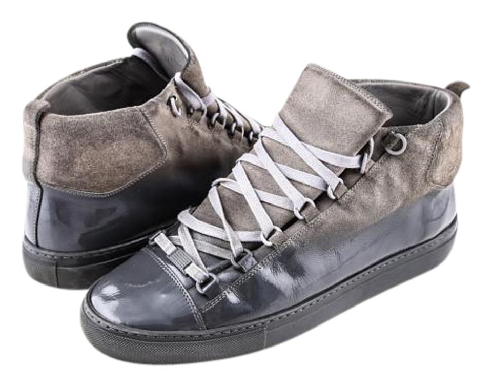 91c3c038f40ec Balenciaga Grey Glossed Suede High Top Boots Booties Size US 10 ...