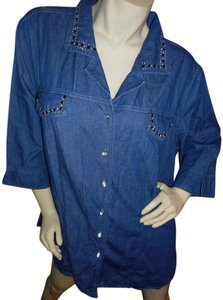 Club Z Denim Embellished Tunic Style Cotton Button Down Shirt Medium Denim Blue