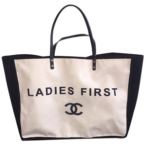 Chanel Canvas Ladies First Tote in black/white