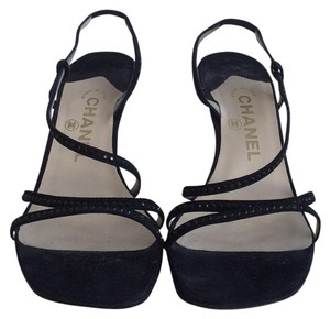 Chanel Sandals Suede Black Formal