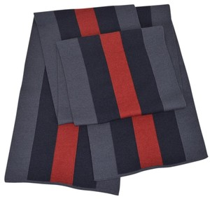 Gucci NEW Gucci 206086 Wool Silk Slate BLUE Red Web Stripe Scarf Muffler