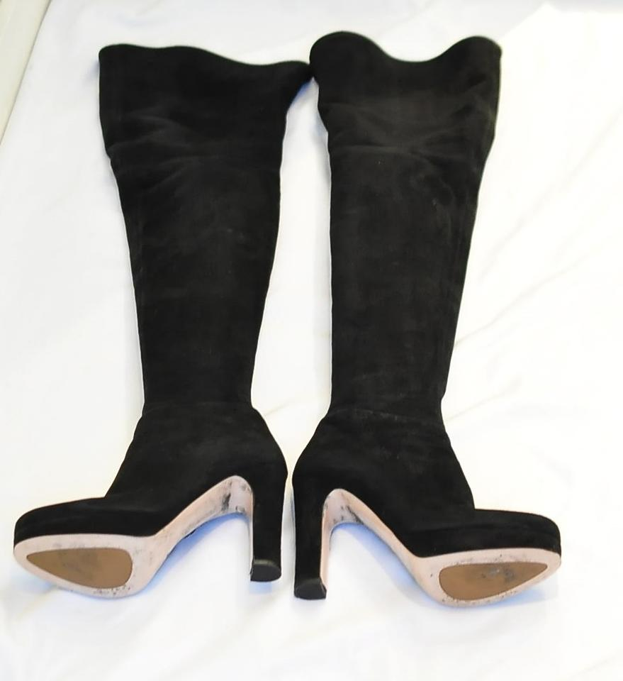 miu miu suede black boots on sale 84 off boots booties on sale. Black Bedroom Furniture Sets. Home Design Ideas