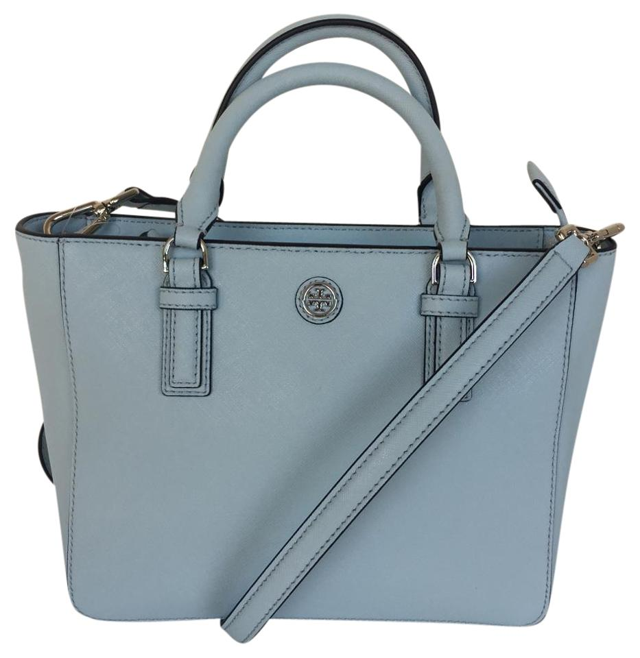 c538d00743b4 Tory Burch Robinson Mini Square Tote Iceberg Leather Satchel - Tradesy