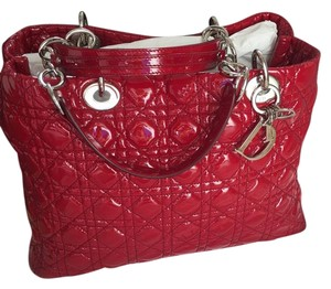 Dior Patent Leather Tote in Red