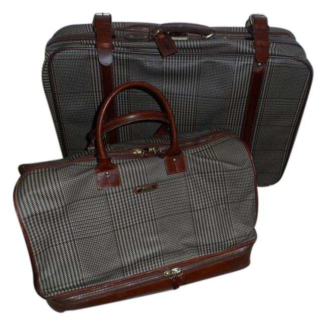 Item - Pc. Luggage Brown Plaid & Leather Canvas Weekend/Travel Bag