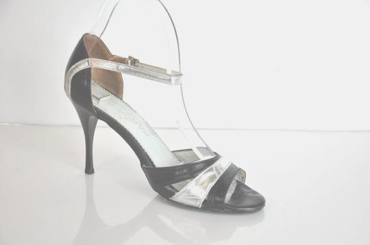 Multi Color Black and Silver Leather Tango Dance Pumps Size US 8 Regular  (M, B)
