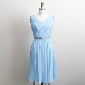 Donna Morgan Powder Blue Chiffon Feminine Bridesmaid/Mob Dress Size 4 (S)