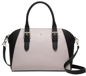 Kate Spade Cove Street Colorblock Pippa Leather Satchel in Mousse Frosting / Black